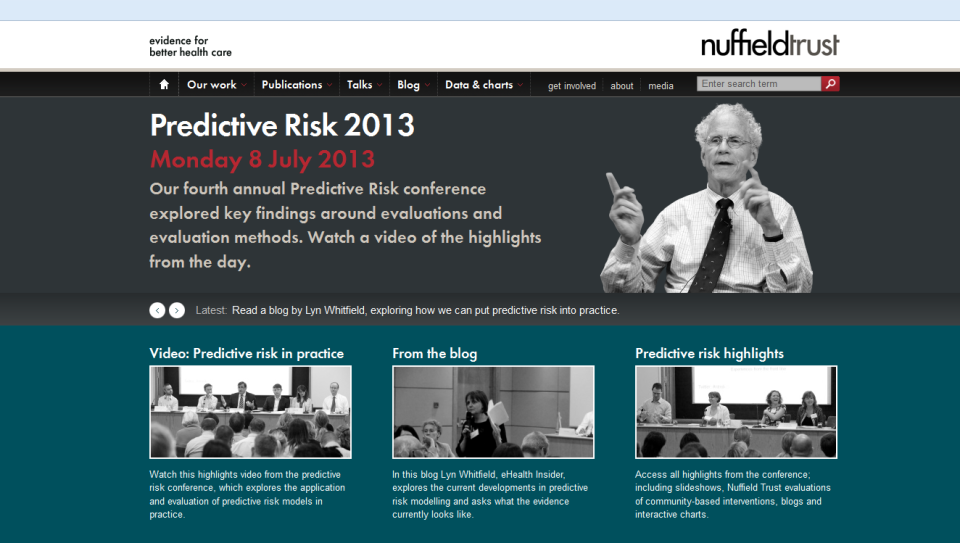 Screen grab of the Nuffield Trust predictive risk conference page (link below)