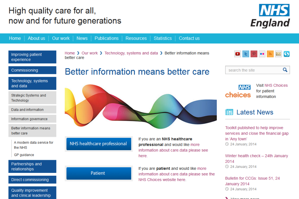 The care.data website