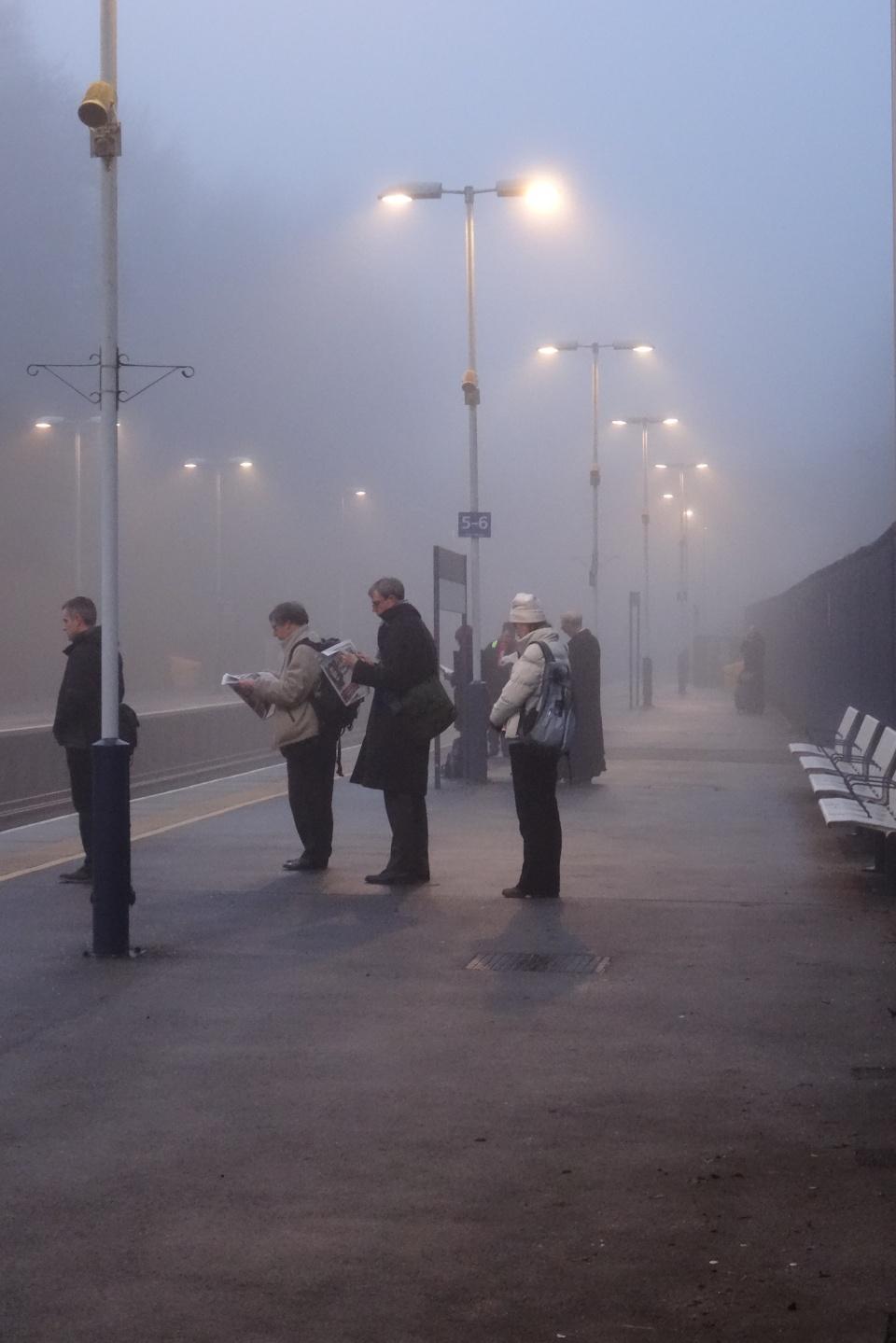 In freezing fog...