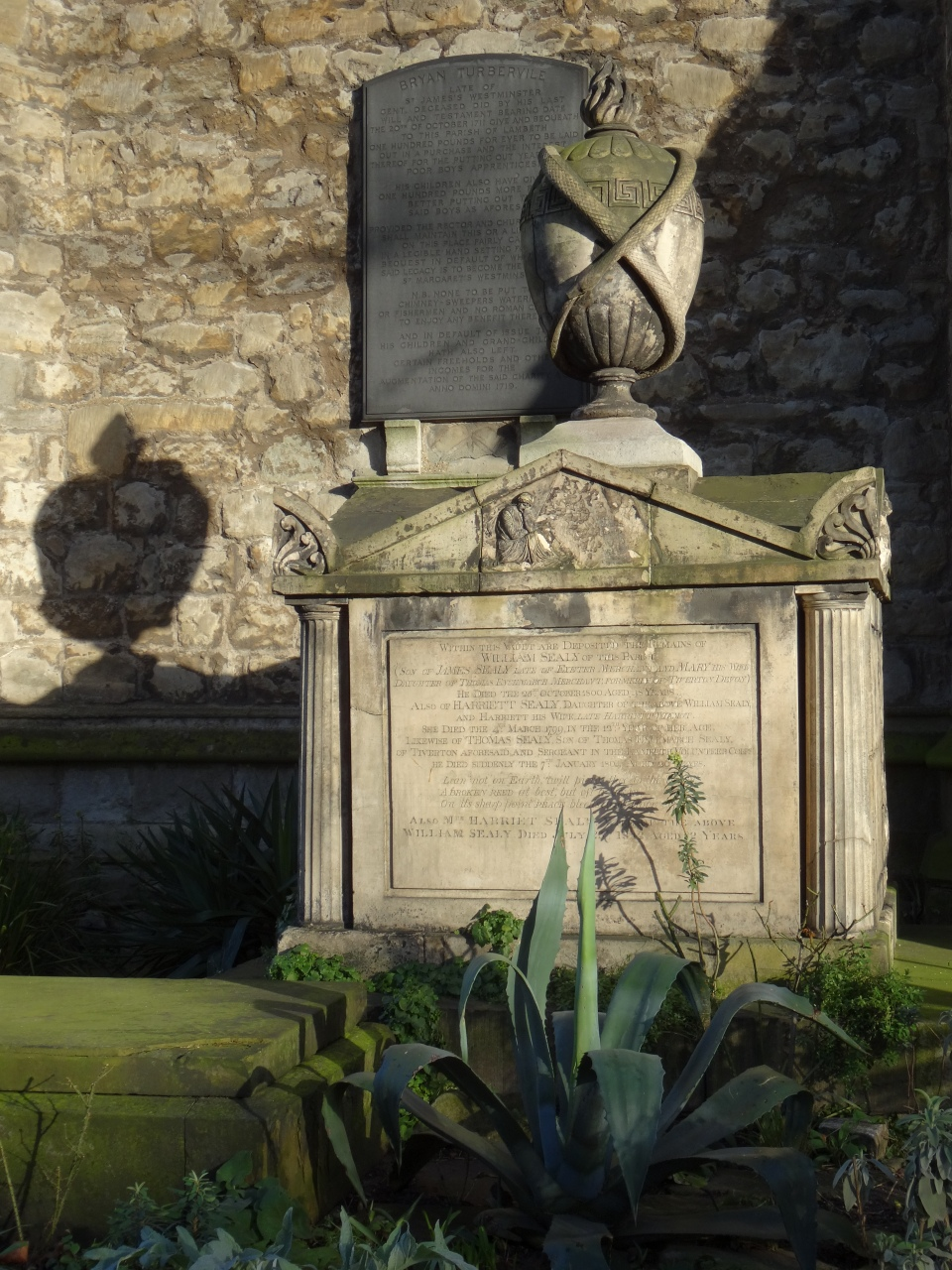 The tomb of the Sealy family in the graveyard of St Mary, Lambeth (now the Garden Museum)