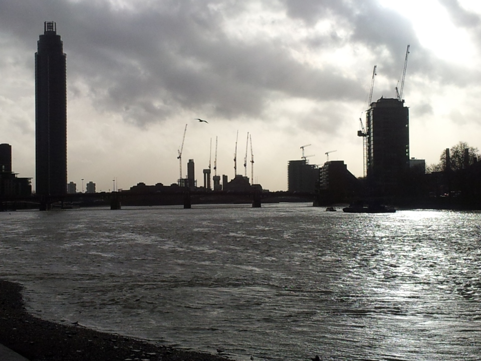 The Thames, looking west from Lambeth Bridge towards the #UKStorm. Taken on my phone. I didn't even see the seagull until I reviewed the picture.