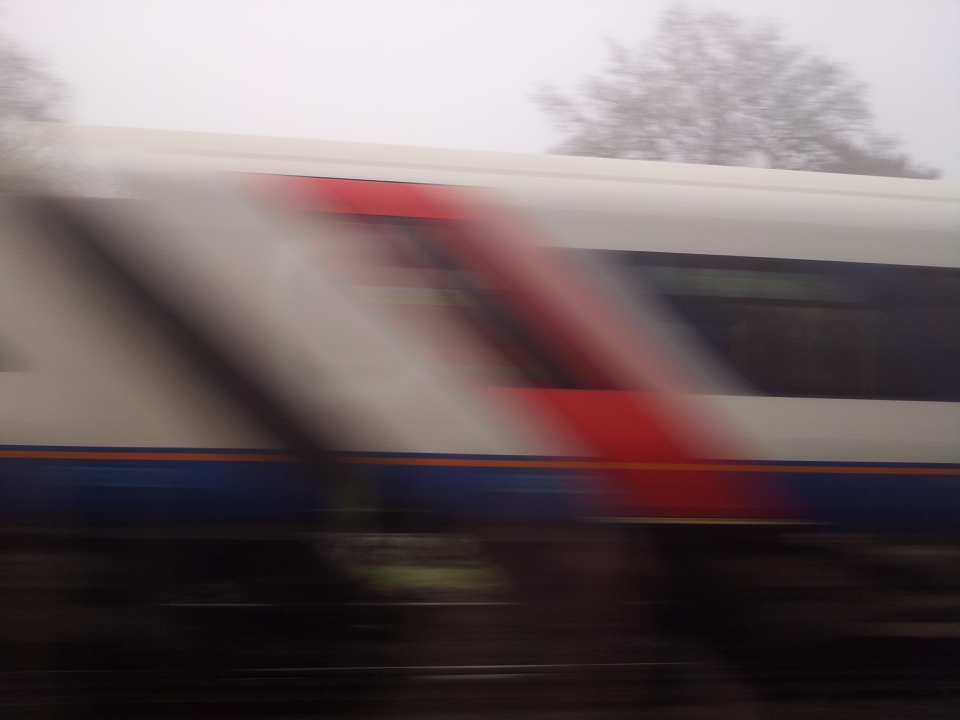A South West train in motion