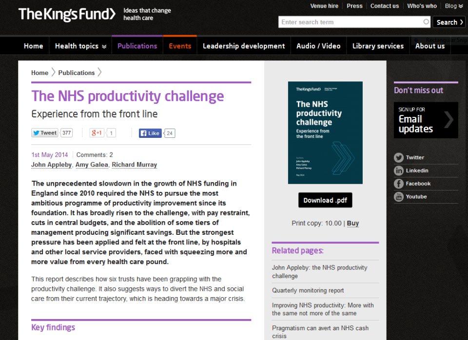 King's Fund webpage for its latest - deeply gloomy - report on 'The NHS Productivity Challenge'.