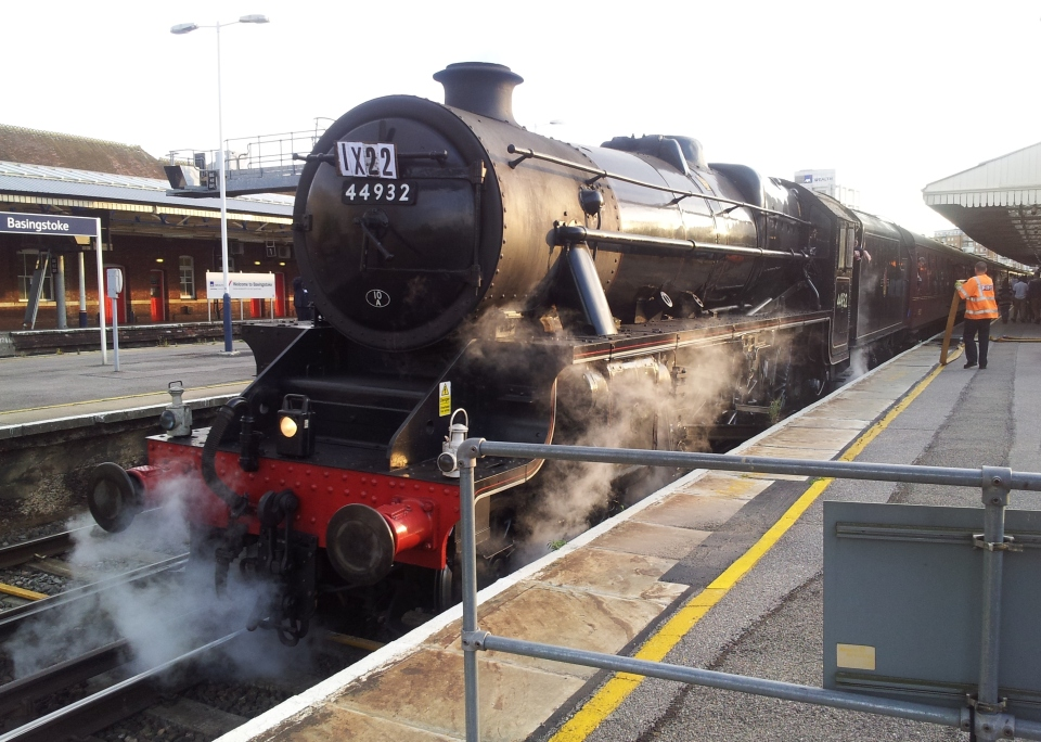 An excursion pulls into Basingstoke station