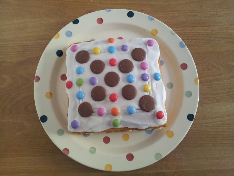 Dotty birthday cake on a dotty plate