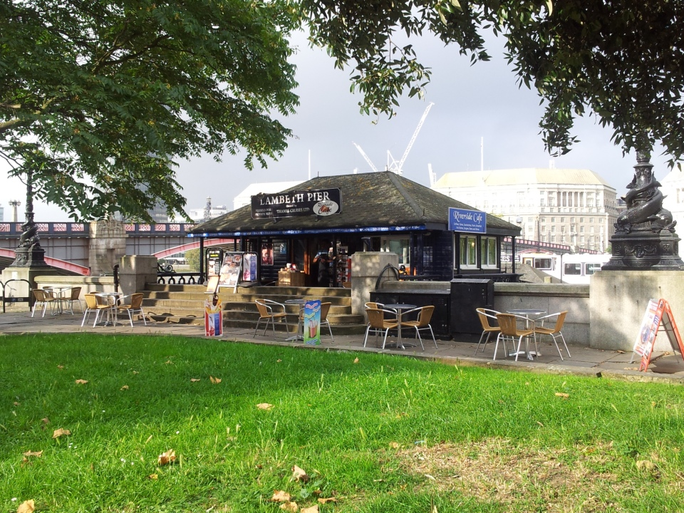 The cafe at Lambeth Pier in late summer morning sunshine