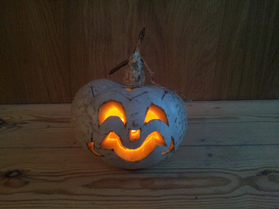 This year's pumpkin lantern gets ready to ward off evil spirits...