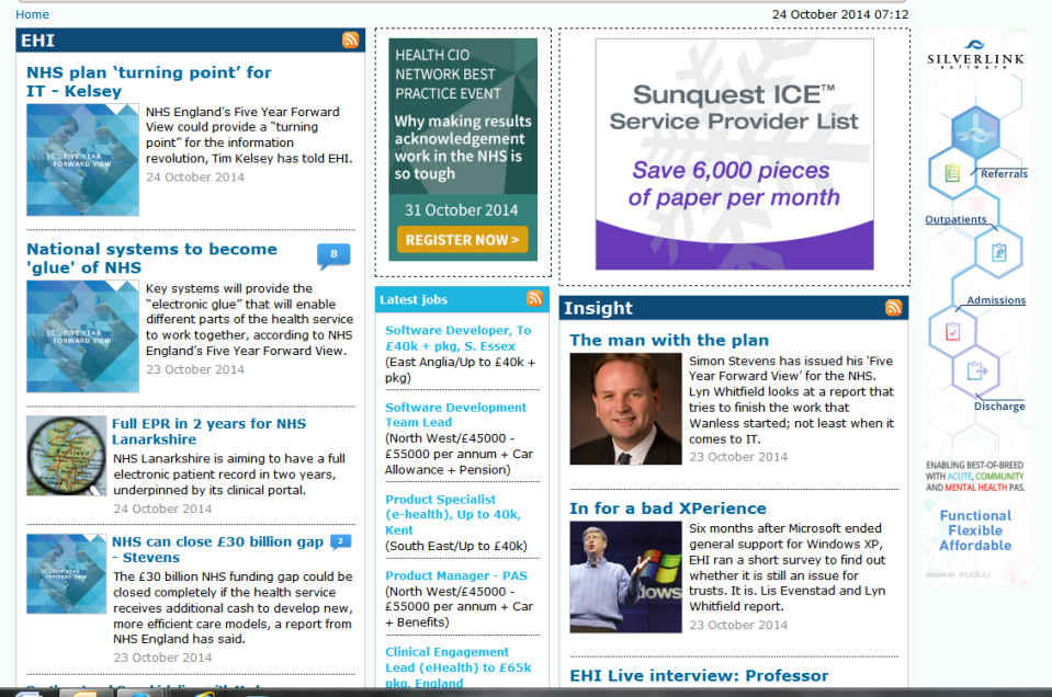 Screen grab of the EHI website showing Simon Stevens / 5YFV coverage.