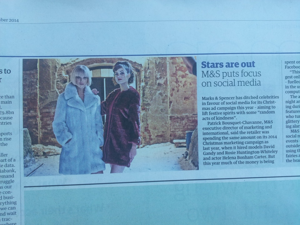 M&S Christmas advert 2014 coverage in the Guardian.