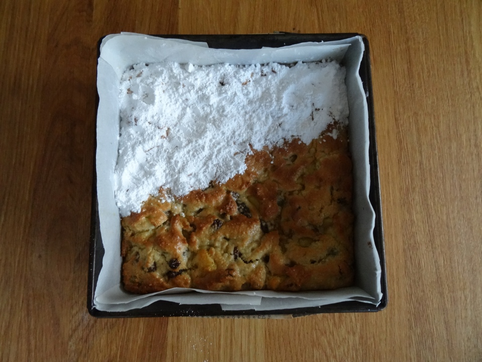 Stollen in progress: cake, check, butter, check, icing sugar, half check