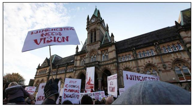 The Winchester March outside the Guildhall (picture from the Hampshire Chronicle)
