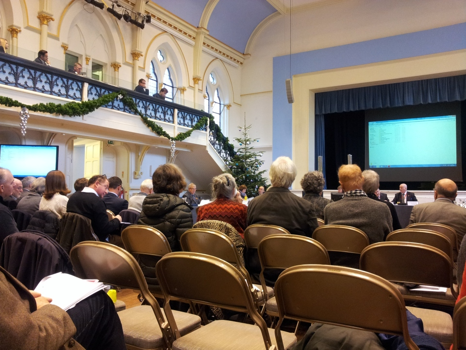 Winchester City Council's special planning meeting on Silver Hill, in a festive Guildhall