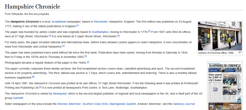 The Hampshire Chronicle's Wikipedia page (slightly out of date: it's no longer a broadsheet)
