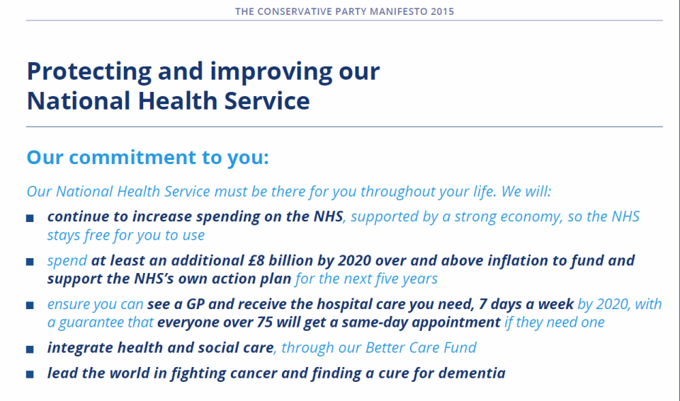The Conservative Party manifesto; pledges (and silences)
