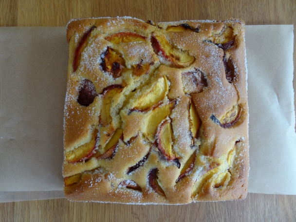 Dutch (erm) peach cake to cheer up a dreary bank holiday