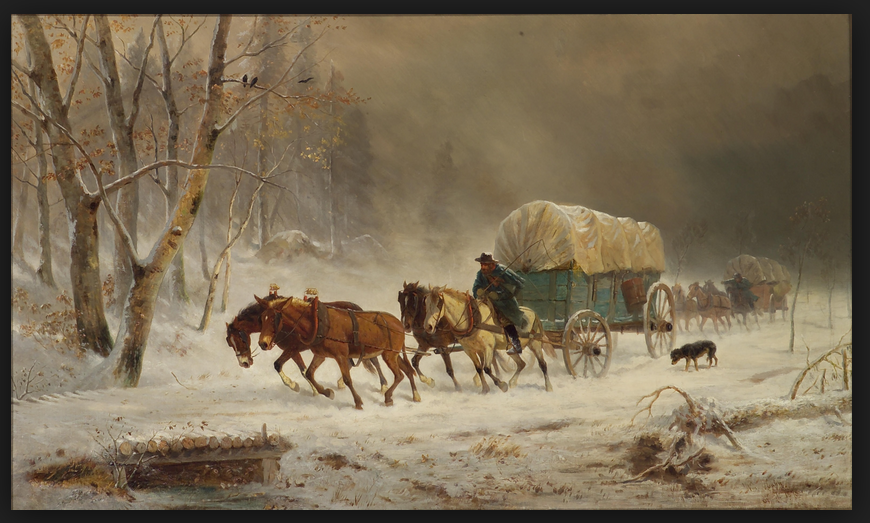 William Hahn - Going Home (Pioneers Braving a Storm)