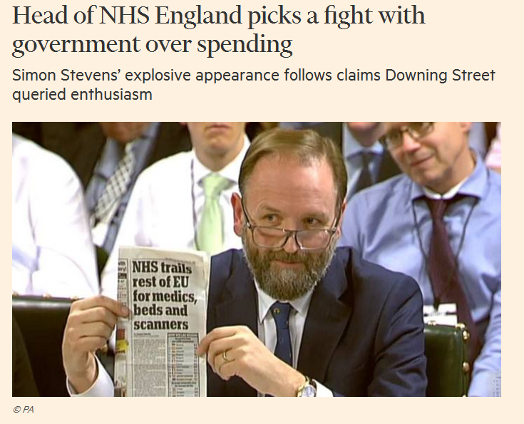 Simon Stevens at the PAC; FT picture
