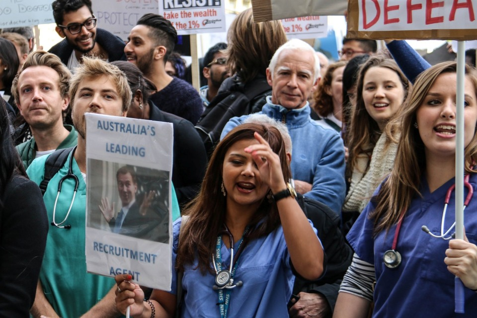 Jeremy Hunt on protest poster